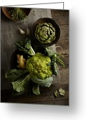Green Artichoke Greeting Cards - Cauliflower And Artichoke Greeting Card by Lew Robertson
