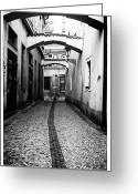 Cobblestone Street Greeting Cards - Caution Awaits Greeting Card by John Rizzuto
