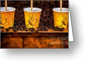 Coffee Beans Greeting Cards - Caution... Contents Hot Greeting Card by Susan Candelario