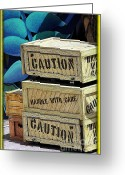 Explosives Greeting Cards - Caution Greeting Card by Sophie Vigneault