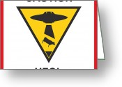 Pop Greeting Cards - Caution ufos Greeting Card by Pixel Chimp
