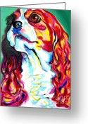 Spaniel Print Greeting Cards - Cavalier - Herald Greeting Card by Alicia VanNoy Call