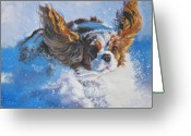 L.a.shepard Greeting Cards - Cavalier King Charles Spaniel blenheim in snow Greeting Card by L A Shepard
