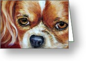 Spaniels Greeting Cards - Cavalier King Charles Spaniel Greeting Card by Enzie Shahmiri