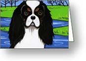 Spaniels Greeting Cards - Cavalier King Charles Spaniel Greeting Card by Leanne Wilkes