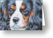 Tricolor Greeting Cards - Cavalier King Charles Spaniel  Greeting Card by Lee Ann Shepard