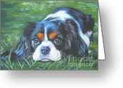L.a.shepard Greeting Cards - Cavalier King Charles Spaniel tricolor Greeting Card by Lee Ann Shepard