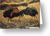 Artifact Greeting Cards - Cave Art: Bison Greeting Card by Granger