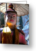 Sacred Art Digital Art Greeting Cards - Cave Buddha Greeting Card by Adrian Evans