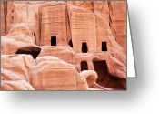 Ancient Tomb Greeting Cards - Cave dwellings Petra. Greeting Card by Jane Rix