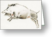 Boar Greeting Cards - Cave Painting Of A Boar, Artwork Greeting Card by Sheila Terry