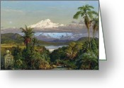 Hudson River School Greeting Cards - Cayambe Greeting Card by Frederic Edwin Church