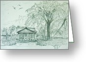 National Drawings Greeting Cards - Cayman Brac Historical Houses  Greeting Card by Monte Lee Thornton
