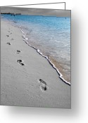 Travelpixpro Greeting Cards - Cayman Footprints Color Splash Black and White Greeting Card by Shawn OBrien