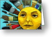 Brushes Greeting Cards - CBS Sunday Morning Sun Art Greeting Card by Linda Apple