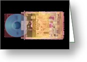 Cd Greeting Cards - Cd Drive, Coloured X-ray Greeting Card by Mark Sykes