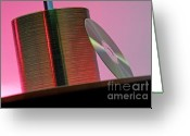 Cd Greeting Cards - CD leaning against stack of CDs Greeting Card by Sami Sarkis