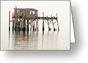 Florida House Greeting Cards - Cedar Key Structure Greeting Card by Patrick M Lynch