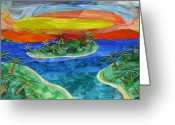 Cedar Key Glass Art Greeting Cards - Cedar Key Sunset Greeting Card by Charles McDonell