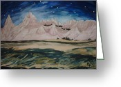 Estephy Sabin Figueroa Painting Greeting Cards - Cedar Pass by Starlight Greeting Card by Estephy Sabin Figueroa
