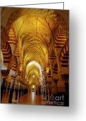 Great Mosque Greeting Cards - Ceilings inside the Catedral de Cordoba Greeting Card by Sami Sarkis