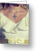 Necklace Greeting Cards - Celctic Cross Greeting Card by Joana Kruse