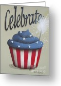 Fireworks Painting Greeting Cards - Celebrate the 4th of July Greeting Card by Catherine Holman