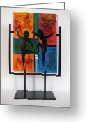 Dancing Glass Art Greeting Cards - Celebrate The Possibilities Greeting Card by Mark Lubich
