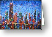 Tall Buildings Greeting Cards - Celebration City Greeting Card by J Loren Reedy