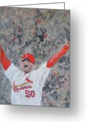 Cardinals World Series Greeting Cards - Celebration Greeting Card by John Terry