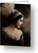 Girl Portrait Greeting Cards - Celeste Aida Greeting Card by Zeana Romanovna