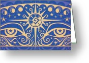 Celtic Greeting Cards - Celestial Gaze Greeting Card by Cristina McAllister