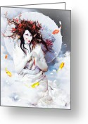Geisha Greeting Cards - Celestial Koi Greeting Card by Shanina Conway