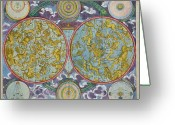 Old Map Drawings Greeting Cards - Celestial Map of the Planets Greeting Card by Georg Christoph Eimmart