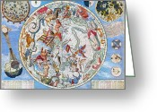 Ptolemaic Greeting Cards - Celestial Planisphere Greeting Card by Granger