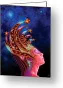 Fairy Mixed Media Greeting Cards - Celestial Queen Greeting Card by Philip Straub
