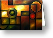 Geometrical Art Painting Greeting Cards - Celestial Spheres Greeting Card by Uma Devi