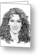 Famous People Drawings Greeting Cards - Celine Dion Greeting Card by Murphy Elliott