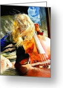 Music Pyrography Greeting Cards - Cello Greeting Card by Bill Kenton Alexander