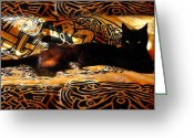 Celtic Knots Greeting Cards - Celtic Cat Greeting Card by Kathleen Horner