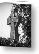 Religious Icon Greeting Cards - Celtic Cross at Fuerty Cemetery Roscommon Ireland Greeting Card by Teresa Mucha