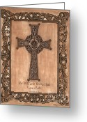Sepia Greeting Cards - Celtic Cross Greeting Card by Debbie DeWitt