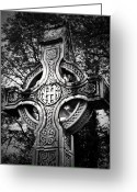 Christian Sacred Greeting Cards - Celtic Cross Detail Killarney Ireland Greeting Card by Teresa Mucha