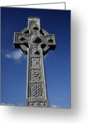 Celt Greeting Cards - Celtic Cross Greeting Card by Joe Burns