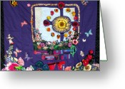 Bright Tapestries - Textiles Greeting Cards - Celtic Cross  Greeting Card by Sarah Hornsby