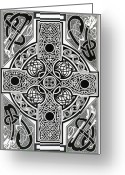 Irish Mixed Media Greeting Cards - Celtic Cross tapestry Greeting Card by Morgan Fitzsimons