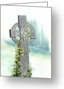 Sympathy Painting Greeting Cards - Celtic Cross with Ivy II Greeting Card by Lynn Quinn