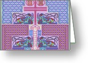 Celtic Knots Greeting Cards - Celtic Dogs Keep Watch Greeting Card by Mike Sexton