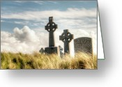 Celt Greeting Cards - Celtic Grave Markers Greeting Card by Natasha Bishop