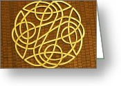 Decorative Art Pyrography Greeting Cards - Celtic Knot Greeting Card by Keith Cichlar